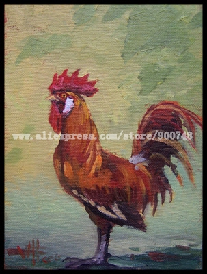 Daily Art Painting Impressionist Rooster BIRD A DAY Listed art beautiful life painting and discount modern art oil paintings(China (Mainland))