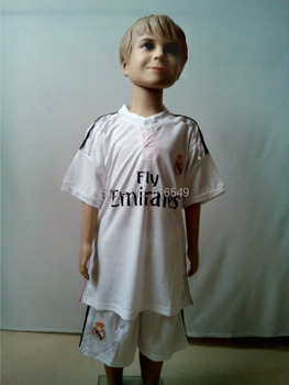Best Quality 2014-2015 Real Madrid kid child football shirts home white real madrid youth 14/15 jerseys &short kids sportswear