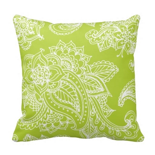 Colorful Apple Green Illustrated Bohemian Paisley Henna Pillow Case (Size: 20