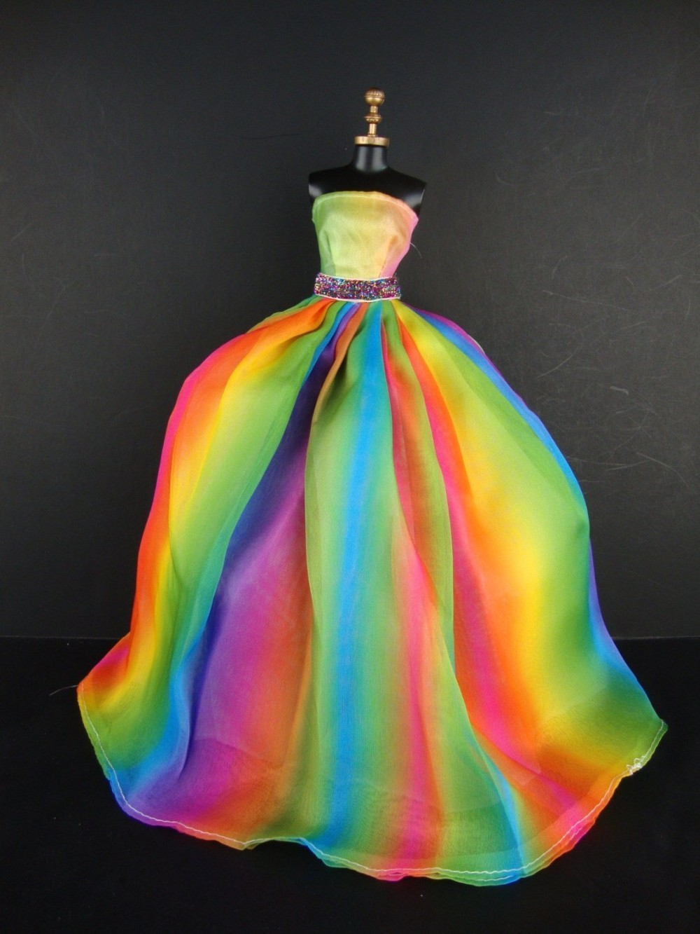 Beautiful Rainbow Impressed Doll Sized Robe for Barbie