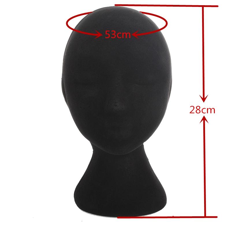 Free Shipping Pro 1Pcs Female Mannequin Velvet Styrofoam Head Display Foam Black Stand Model Dummy Wig Hat Glasses Tools(China (Mainland))