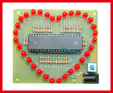 2pcs/lot, LED heart-shaped flash light lamp electronic board production suite DIY electric kit(China (Mainland))