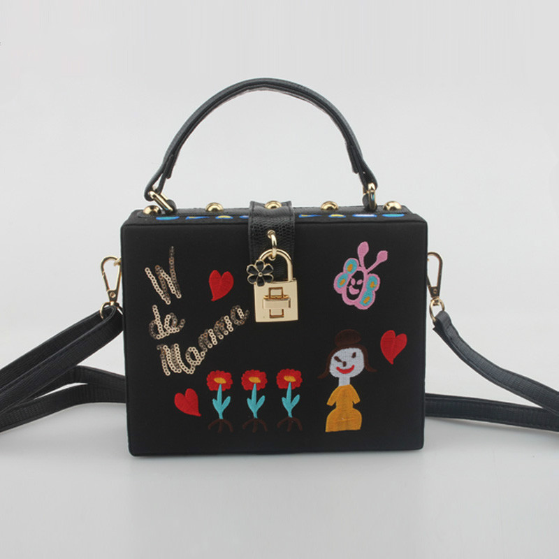 2016 Paris Catwalk Famous Designer Embroidery Flowers Box Shoulder Bag Mini Crossbody Bags For Women High Quality Vintage Tote(China (Mainland))