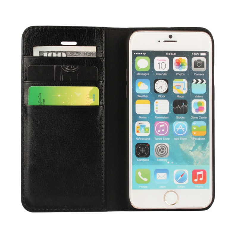 Genuine Leather Mobile Phone Case For iphone 6 6s Flip Stand Design Wallet With Card Slot Phone Back Cover For iphone 6 Case