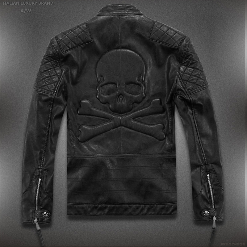 Hot ! High quality new Spring fashion leather jackets men, men's leather jacket brand motorcycle leather jackets skull(China (Mainland))