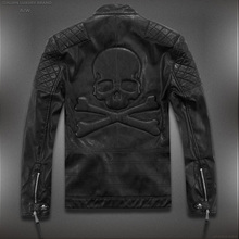 Hot ! High quality new Spring fashion men's coat, men's jackets, men's leather jacket brand motorcycle leather jackets skull