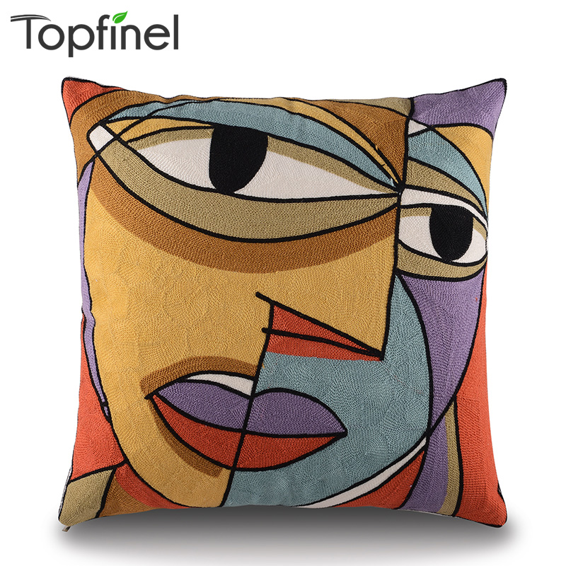 Top Finel Picasso Embroidered Decorative Throw Pillows Case Cotton Cushion Cover Creative Decoration for Sofa Car