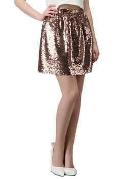 Блеск золота блестками сетки мини колокол юбка ж / накладки боковых кармана эластичный высокая талия один размер подходит для большинства 2015 весна последние новый