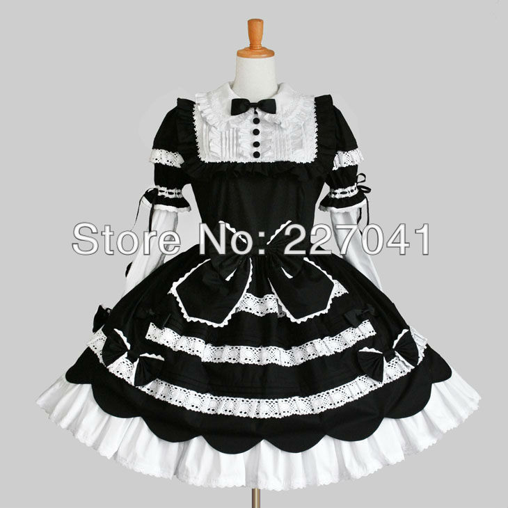Japanese Girl Lolita maid anime clothes Halloween black cosplay costume dress A0149 - love store