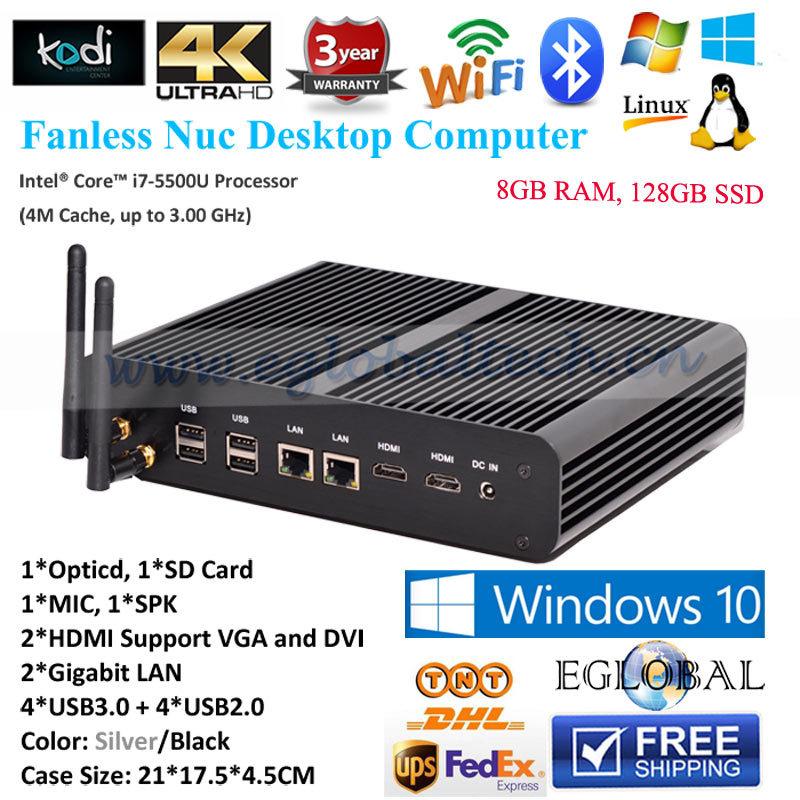 Core i7 5500u i5 5257u Iris 6100 8G 1600MHz RAM 128G SSD Fanless Linux Micro PC 2Nics 2HDMI SD Card Thin Client Mini PC Computer(China (Mainland))