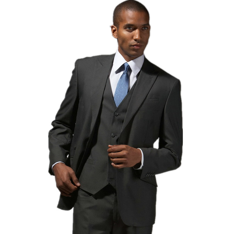 Charcoal grey groom suits