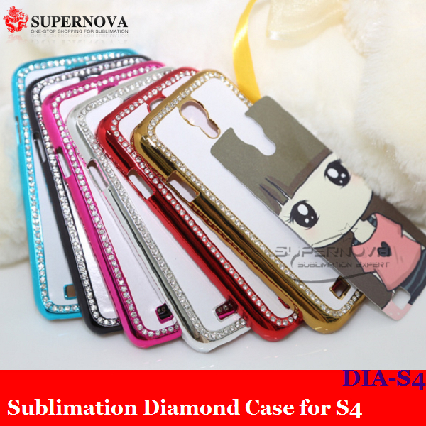 Free Shipping Black Cell Phone Diamond Cover with Metallic Surface for Samsung Galaxy i9500 S4(China (Mainland))
