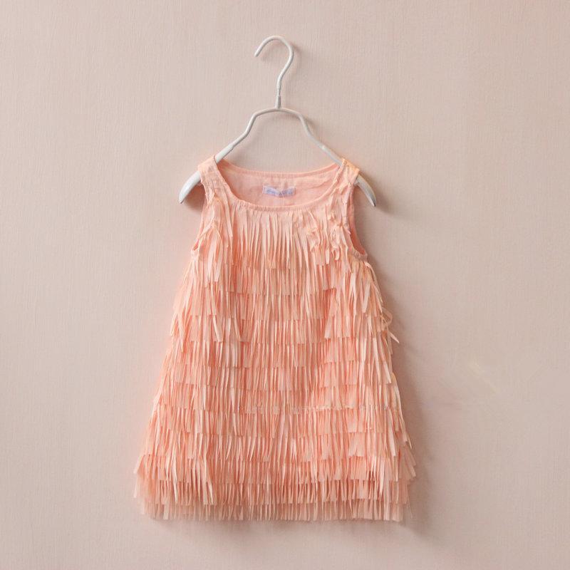 2015 Kids Girls Tassel Chiffon Dress Baby girl Summer Princess Lace dress Babies childrens clothing<br><br>Aliexpress