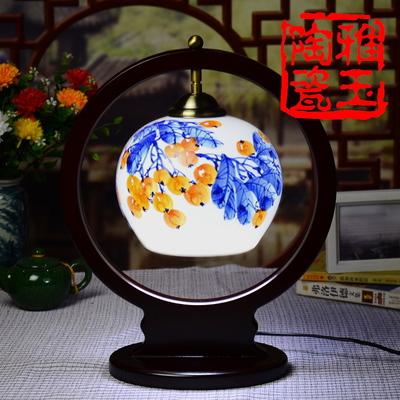 Vintage Wood Ceramic Brief Modern Lampshade Living Room Bedroom 110-220V Desk Light Decorative Table Lamp(China (Mainland))