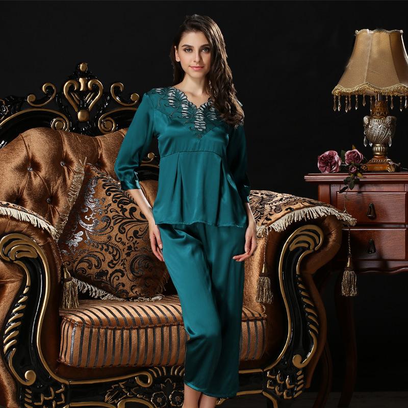 100% silk women pajama sets half sleeveless twinset mulberry silk pijamas lace soft silk sleepwear V-neck female homewear T77111