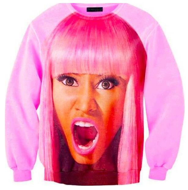 Harajuku style new womens 3D sweatshirt character printed nicki minaj crewneck pullover hoodies pink(China (Mainland))