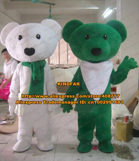 Quiet White Green Teddy Bear Rilakkuma Cookies Bear Relax Kuma Mascot Costume Cartoon Character Mascotte Small Packbag ZZ760 FS(China (Mainland))