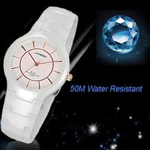 2016 New Fashion Sinobi Stainless Steel Pointer Elegant Style Ceramic 50M Waterproof Wrist Watch Hot Sale For Male Female