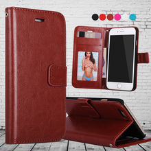 Leather Flip Wallet Case for iPhone 6 With Card Holder and Strap Phone Cover