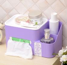Makeup Organizer Adjustable Plastic Tissue Box Multifunctional tissue paper Storage Box napkin holder toilet paper holder(China (Mainland))