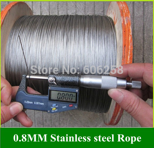 Stainless Steel Wire Rope / Extra-fine wire / Mold Rope 0.8mm 100Meter<br><br>Aliexpress