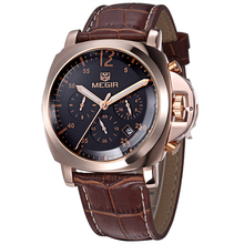 Luxury MEGIR Brand Leather Chronograph 6 Hands 24 Hours Function Men Quartz Watches Men Military Wristwatch Relogio Masculino