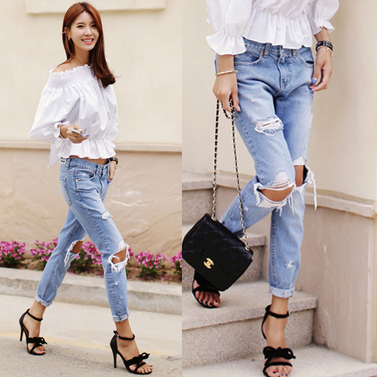 Free shipping 2015 big hole denim trousers street fashion jeans slim pants casual loose women jeans S M L(China (Mainland))