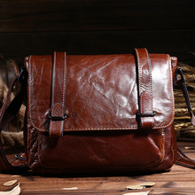New Hot Vintage fashion genuine leather business men messenger bags with high quality casual travel shoulder