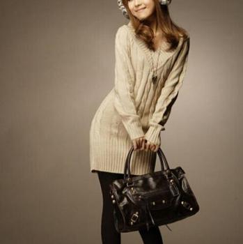 Новый длинные свитера осень зима женщины мода пуловеры перемычка осень 3 сплошные ...