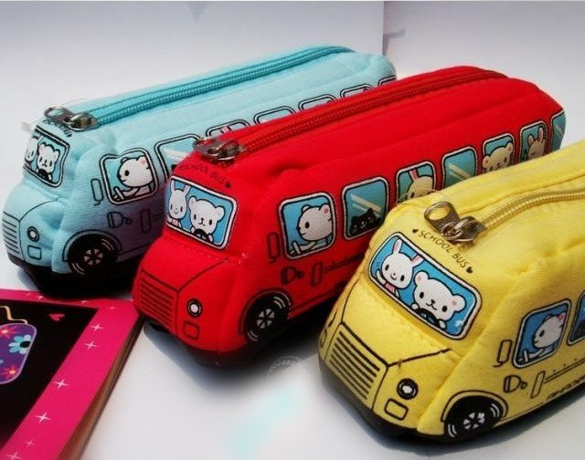 Specials !  cartoon  bus design canvas pencil case  child cute gift pencil bag free shipping