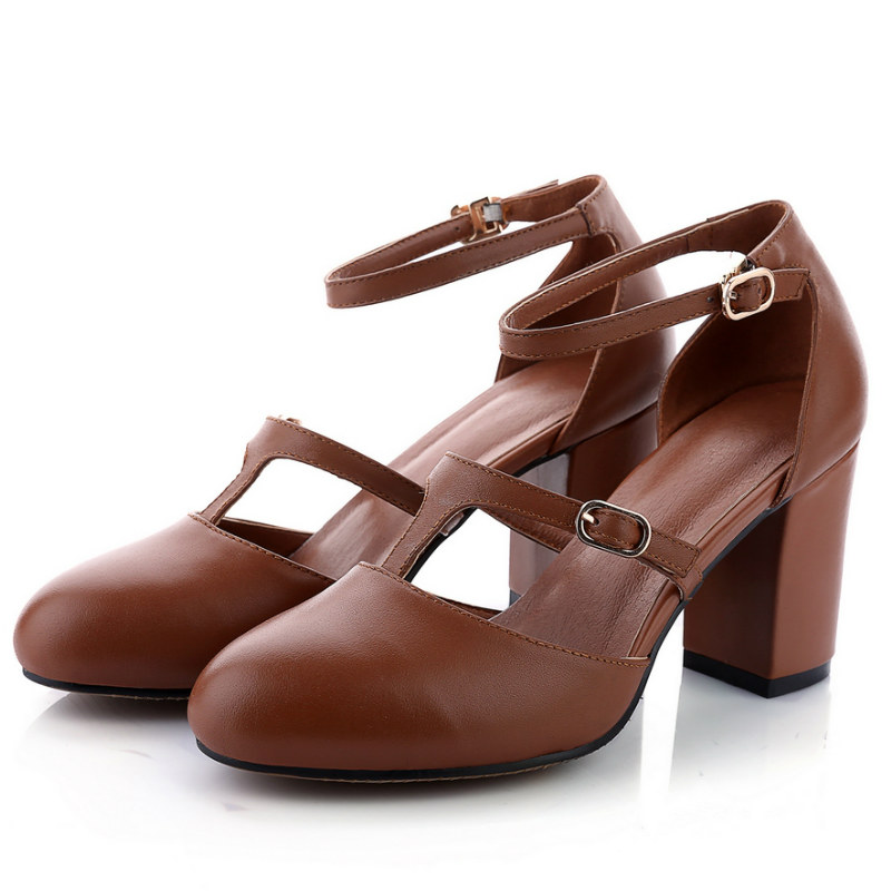 hot sale office ladies summer shoes full grain genuine leather 7.5cm thick heels women comfortable pumps 2016 brown black white
