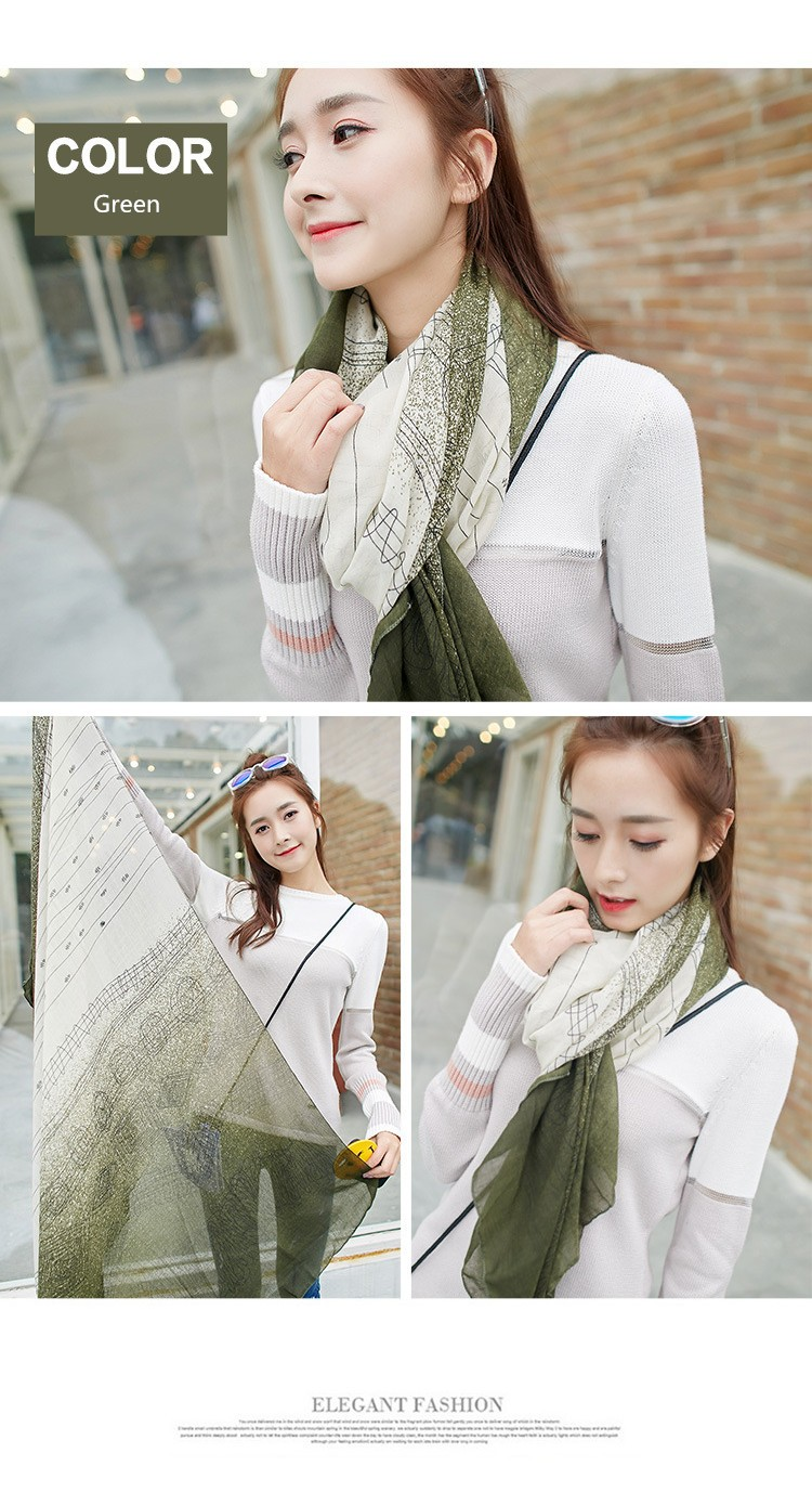 Chiffon Silk Scarf Autumn Winter Women Scarf Classic Retro Pattern Spell Color Shawl Gradient Splicing Women Scarves