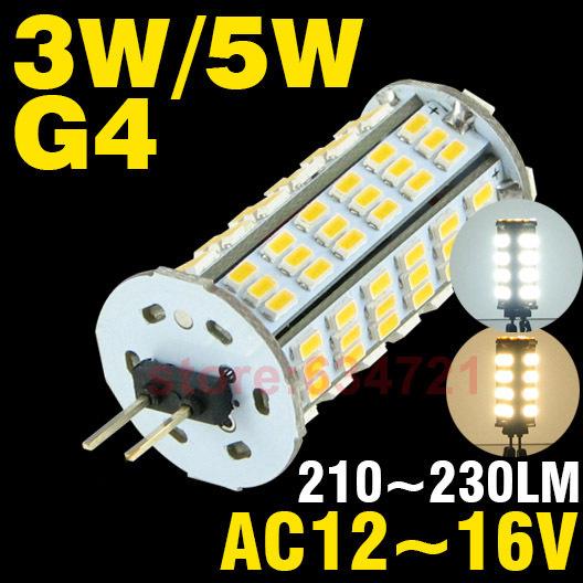 10pcs/lot  AC / DC 12V 3W 5W Crystal 360 Degree Light Bulb G4 LED  Bulbs Lamp Beads Energy Saving Lamps