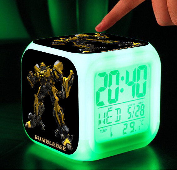 Retail & Wholesale LED bell,7 Colors Change Digital Alarm Clock Maleficent despicable me Transformation toys(China (Mainland))
