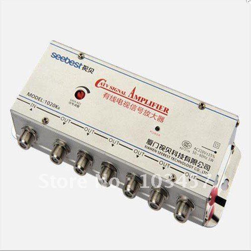Free shipping, SB-1020K6, 6 way catv signal amplifer, Sat Cable TV Signal Amplifier Splitter Booster CATV, 20DB(China (Mainland))