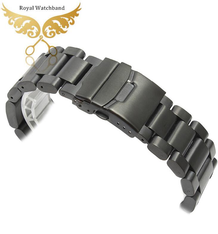 Новые 22 мм 24 мм 26 мм новых тяжелых серебро черный твердых браслет из нержавеющей стали ремешок для часов двойной флип замком-вертушкой