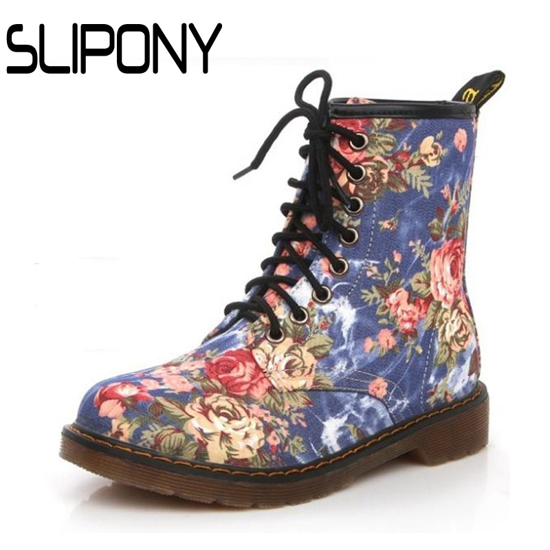 2016 New Shoes Woman Boots Fashion Lacing Women Martin British Style Vintage Big Flower Motorcycle - slipony woman Store store