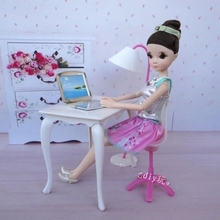 For barbie doll house accessories furniture set desk+lamp+laptop+chair accessories for Barbie Doll 1/6 child girl baby gift toys