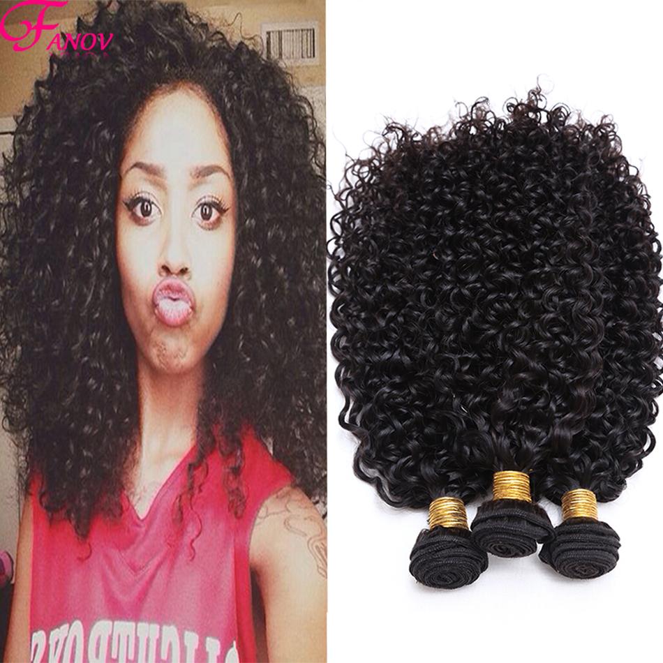 FANOV Brazilian Kinky Curly hair 4pcs Cheap 6a Real Brazilian Virgin hair Curly Bundles curly Brazilian hair Extensions Thick(China (Mainland))