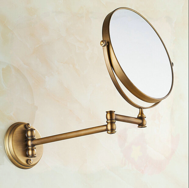 "8"" Bathroom antique brass mirrors Wall mounted folding type water bathroom faucet(China (Mainland))"