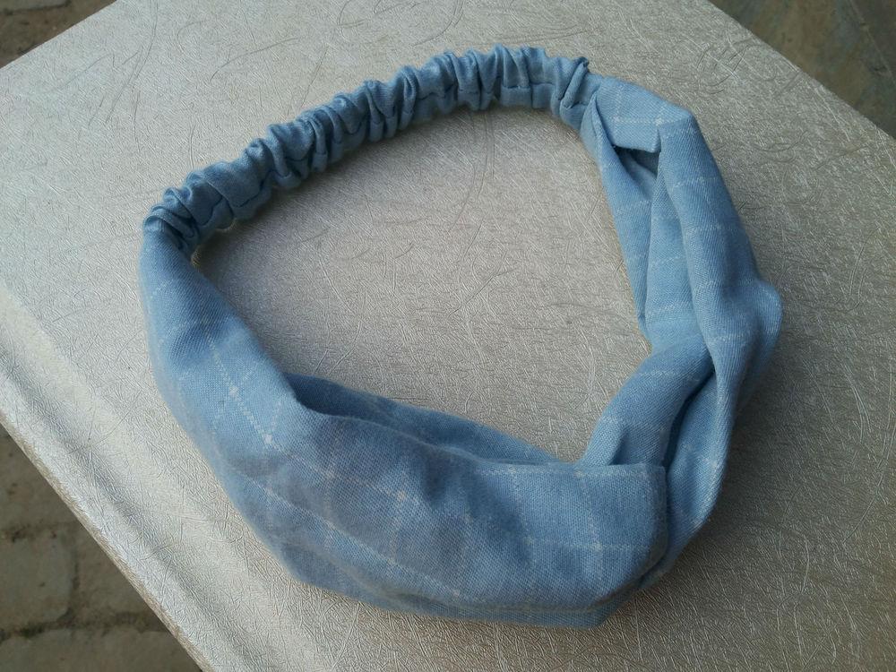 Korea plaid denim cloth headband wholesale cross section(China (Mainland))
