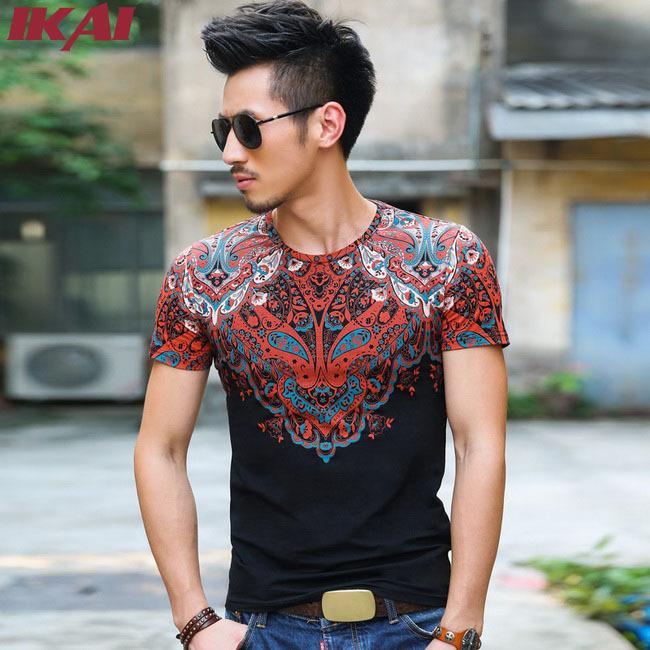 Pure Cotton Printed T Shirt Men Fitness Simple Flower bandana O Neck T-Shirts For Men Mens Tee Shirts SMB0282-2(China (Mainland))
