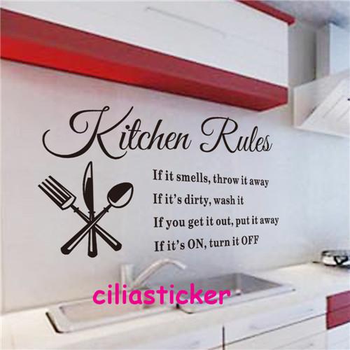 1 x 60 33cm sticker pvc removable kitchen rules fork spoon
