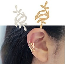 New fashion Accessories jewelry cute leaf clip earring for women girl nice gift wholesale E2674(China (Mainland))
