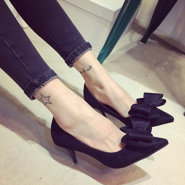 New arrival 2015 big bow single shoes white collar thin heels green velvet ol work shoes<br><br>Aliexpress