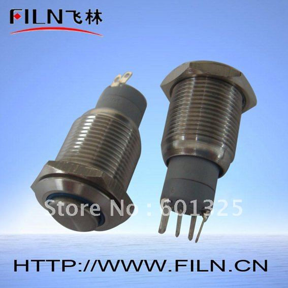 10 16mm push button switch lamp 24v ring blue LED high flat round actuator stainless steel latching type - Wenzhou Xinglin Electrical Fittings Factory store