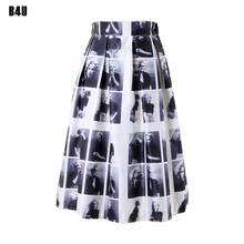 50s 60s Vintage Skirt Marilyn Monroe Plaid Prints Retro Pleated Midi Skirts 2016 High Waist Skater Faldas Saias Femininas FS0037