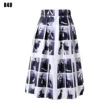 50s 60s Vintage Skirt Marilyn Monroe Plaid Prints Retro Pleated Midi Skirts 2016 High Waist Skater Faldas Saias Femininas FS0037