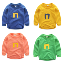 Kids Pullover Sweatshirt Thin Outerwear Spring Autumn Children Clothing Boy Girls Long-sleeve Hoodie Number 17 Print Sport Top(China (Mainland))