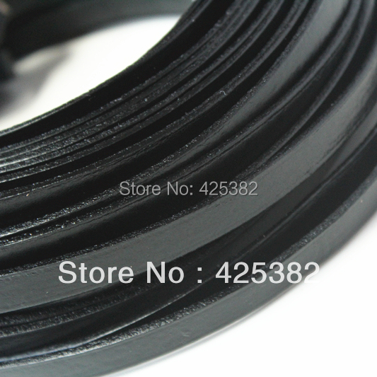10mm Real Flat Leather Cord, 10 feet Leather Stripe,Black Genuine Leather String, Free Shiping(China (Mainland))